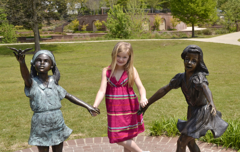 Chloe with statue pic